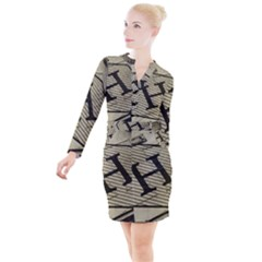 Fabric Pattern Textile Clothing Button Long Sleeve Dress by Sapixe