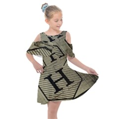 Fabric Pattern Textile Clothing Kids  Shoulder Cutout Chiffon Dress