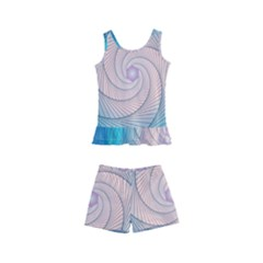 Decorative Background Blue Kid s Boyleg Swimsuit by Sapixe