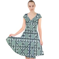Pattern Graphics Figure Line Glass Cap Sleeve Front Wrap Midi Dress