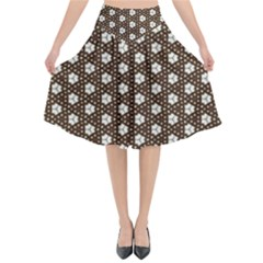 Texture Background Pattern Flared Midi Skirt