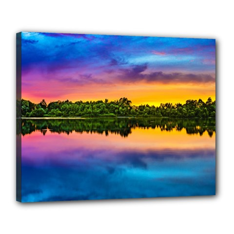 Sunset Color Evening Sky Evening Canvas 20  X 16  (stretched)