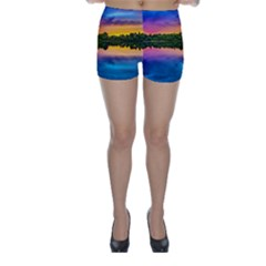 Sunset Color Evening Sky Evening Skinny Shorts by Sapixe