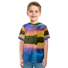 Sunset Color Evening Sky Evening Kids  Sport Mesh Tee