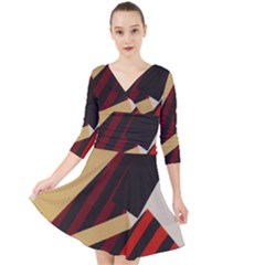 Fabric Textile Design Quarter Sleeve Front Wrap Dress