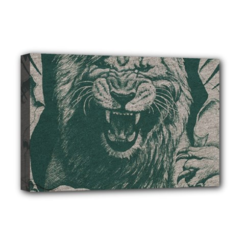 Angry Male Lion Pattern Graphics Kazakh Al Fabric Deluxe Canvas 18  X 12  (stretched)