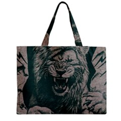 Angry Male Lion Pattern Graphics Kazakh Al Fabric Zipper Medium Tote Bag by Sapixe