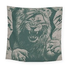 Angry Male Lion Pattern Graphics Kazakh Al Fabric Square Tapestry (large) by Sapixe