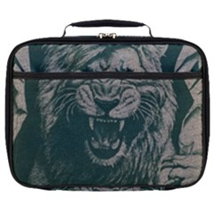 Angry Male Lion Pattern Graphics Kazakh Al Fabric Full Print Lunch Bag by Sapixe