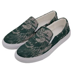 Angry Male Lion Pattern Graphics Kazakh Al Fabric Men s Canvas Slip Ons by Sapixe