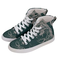 Angry Male Lion Pattern Graphics Kazakh Al Fabric Men s Hi-top Skate Sneakers by Sapixe