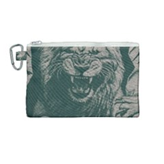 Angry Male Lion Pattern Graphics Kazakh Al Fabric Canvas Cosmetic Bag (medium) by Sapixe