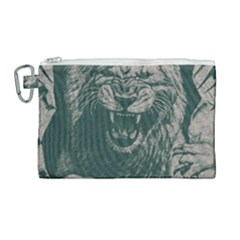 Angry Male Lion Pattern Graphics Kazakh Al Fabric Canvas Cosmetic Bag (large)