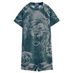 Angry Male Lion Pattern Graphics Kazakh Al Fabric Kids  Boyleg Half Suit Swimwear