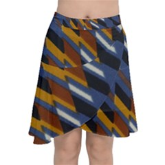 Colors Fabric Abstract Textile Chiffon Wrap Front Skirt