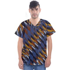 Colors Fabric Abstract Textile Men s V Neck Scrub Top