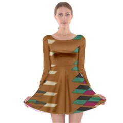 Fabric Textile Texture Abstract Long Sleeve Skater Dress