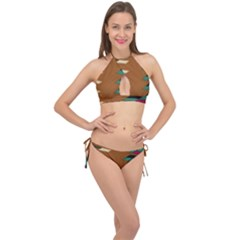 Fabric Textile Texture Abstract Cross Front Halter Bikini Set by Sapixe