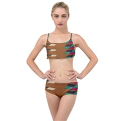Fabric Textile Texture Abstract Layered Top Bikini Set