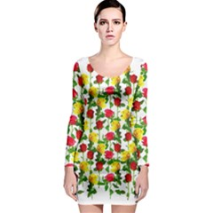 Rose Pattern Roses Background Image Long Sleeve Bodycon Dress