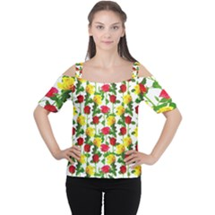 Rose Pattern Roses Background Image Cutout Shoulder Tee