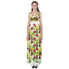 Rose Pattern Roses Background Image Empire Waist Maxi Dress