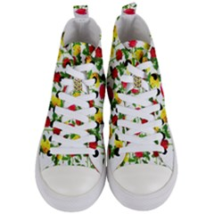 Rose Pattern Roses Background Image Women s Mid Top Canvas Sneakers