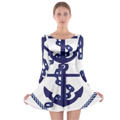 Anchor Chain Nautical Ocean Sea Long Sleeve Skater Dress