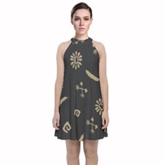 Pattern Seamless American Culture Velvet Halter Neckline Dress