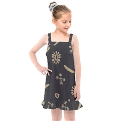 Pattern Seamless American Culture Kids  Overall Dress