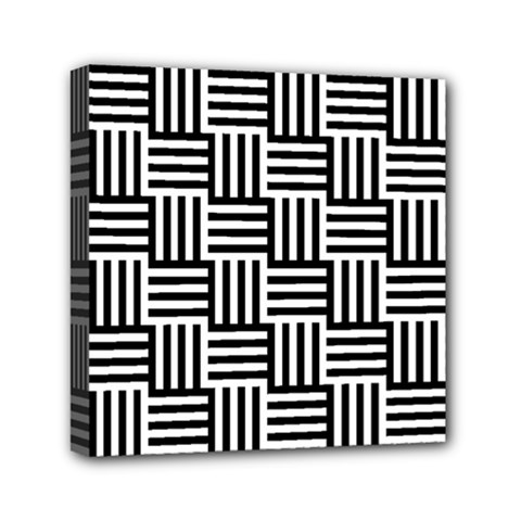 Basket Black Lines Stripes White Mini Canvas 6  X 6  (stretched)