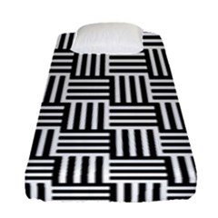 Basket Black Lines Stripes White Fitted Sheet (single Size)