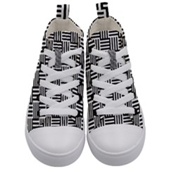 Basket Black Lines Stripes White Kid s Mid Top Canvas Sneakers