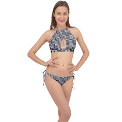 Basket Black Lines Stripes White Cross Front Halter Bikini Set