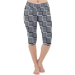 Basket Black Lines Stripes White Lightweight Velour Cropped Yoga Leggings
