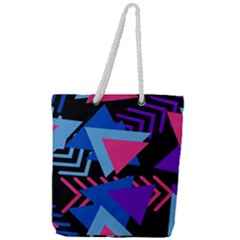 Memphis Pattern Geometric Abstract Full Print Rope Handle Tote (large)