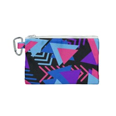 Memphis Pattern Geometric Abstract Canvas Cosmetic Bag (small) by Sapixe