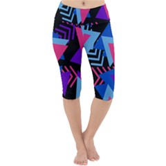 Memphis Pattern Geometric Abstract Lightweight Velour Cropped Yoga Leggings