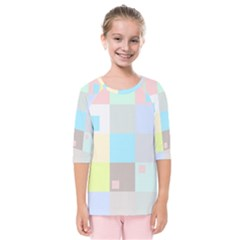 Pastel Diamonds Background Kids  Quarter Sleeve Raglan Tee