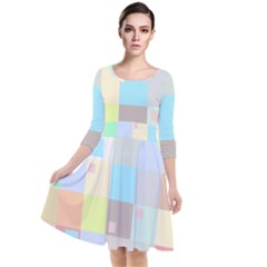 Pastel Diamonds Background Quarter Sleeve Waist Band Dress