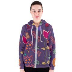 Background Decorative Floral Women s Zipper Hoodie