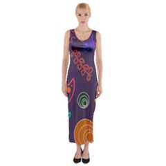 Background Decorative Floral Fitted Maxi Dress