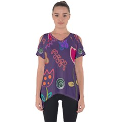 Background Decorative Floral Cut Out Side Drop Tee by Sapixe
