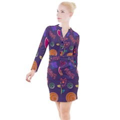 Background Decorative Floral Button Long Sleeve Dress