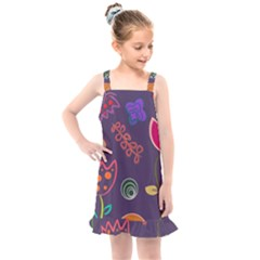Background Decorative Floral Kids  Overall Dress