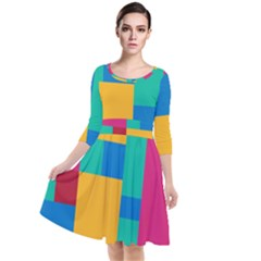 Background Abstract Quarter Sleeve Waist Band Dress