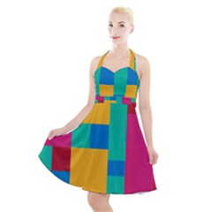 Background Abstract Halter Party Swing Dress