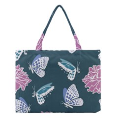 Butterfly Pattern Dead Death Rose Medium Tote Bag