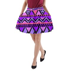 Seamless Purple Pink Pattern A Line Pocket Skirt