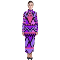 Seamless Purple Pink Pattern Turtleneck Maxi Dress